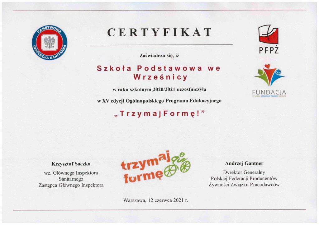 Certyfikat - Trzymaj formę 2021